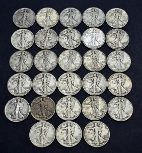 28 US 90% Silver Walking Liberty Half Dollar Coins