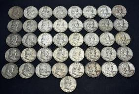 41 US 90% Silver Franklin Half Dollar Coins