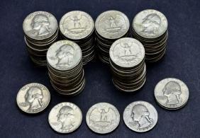 127 US 90% Silver Washington Quarter Dollar Coins