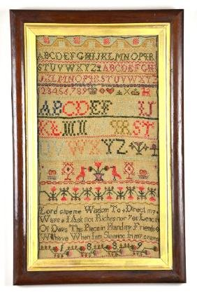 1839 Framed Needlepoint Sampler