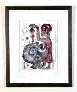 Pen and Ink Drawing, Listed Artist CHOMO Roger Chomeaux