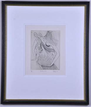 """Framed Etching """"Mother of All"""", by Hugo"""