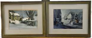 Pair of Framed Watercolor Paintings by George Bjorkland