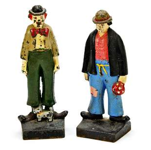 Pair of Vintage Hobo Clown Cast Iron Door Stops