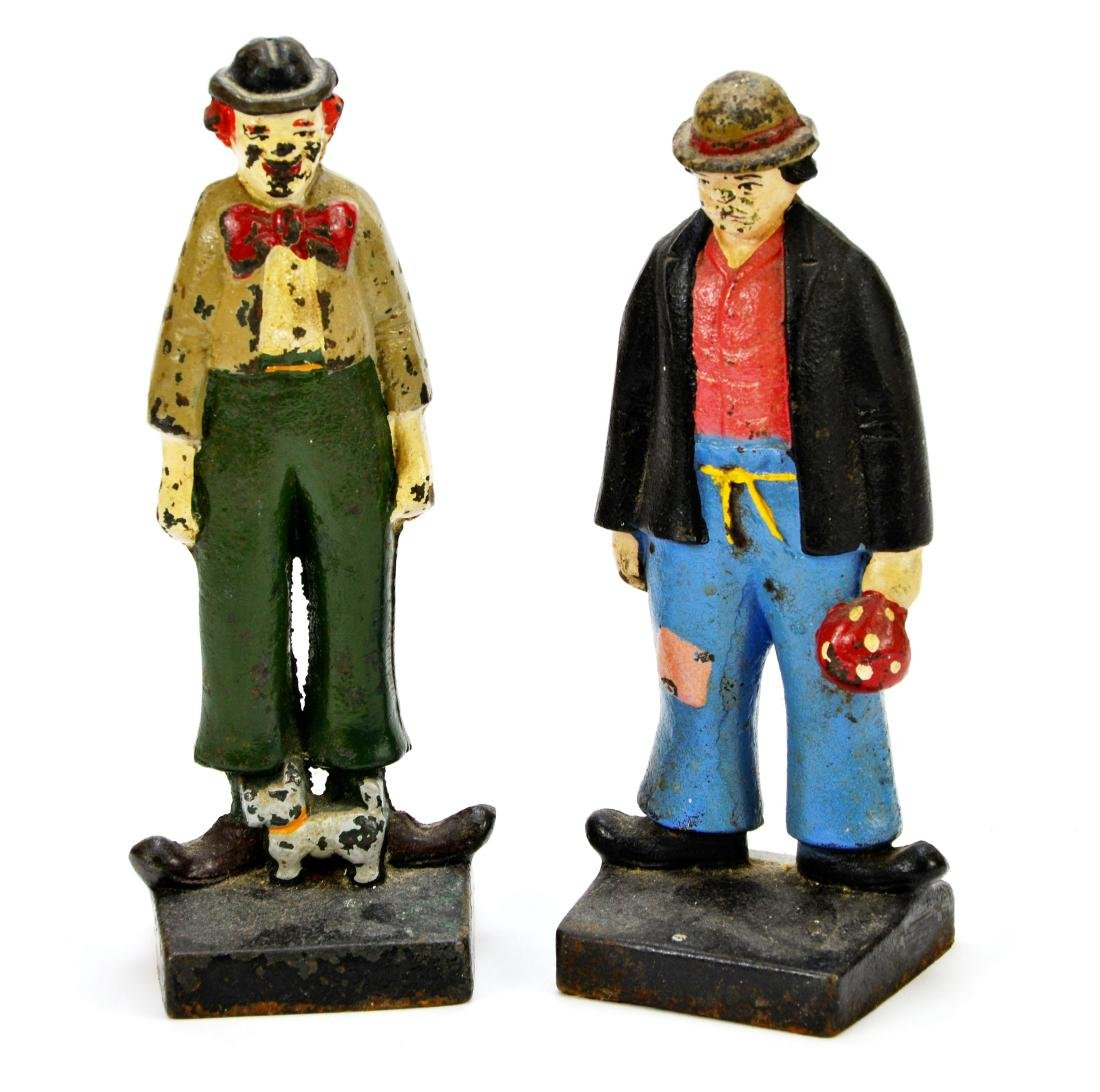 Pair of Vintage Hobo Clown Cast Iron Door Stops