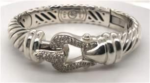 David Yurman Diamond Cable Collection Buckle Bracelet