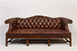 Chesterfield Brown Leather Sofa by Mastercraft