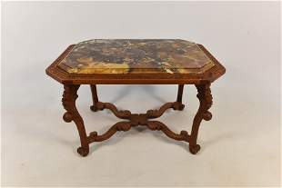 Louis XV Style French Carrera Marble Top Side End Table