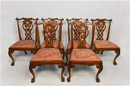 2oth Century Set of 6 Chippendale Style Chairs
