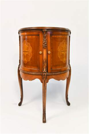 Antique Louis XVI Style Demilune Marquetry Console