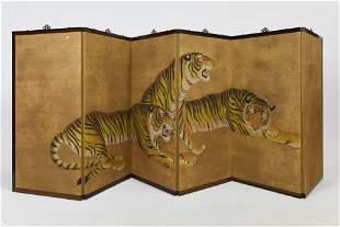 Asian 6-Panel Bengal Tiger Byobu Folding Room Divider
