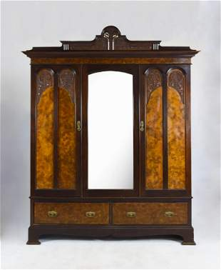 Antique Victorian Walnut and Burled Mahogany Armoire