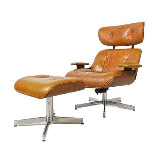 Selig Eames Style Teak Lounge Chair with Polycomfort