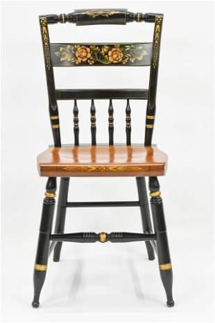 Stenciled Ebonized Hitchcock Decorative Chair