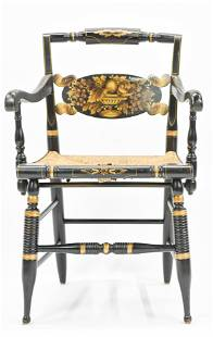 Signed Hitchcock Decorative Fancy Ebonized Arm Chair