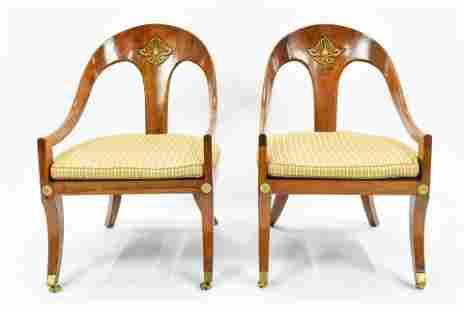 Pair Biedermeier Style Klismos Chairs