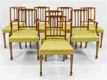 Set of Eight Sheraton Style Carved Maple Dining Chairs