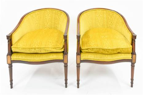 Heritage French Style Bergere Upholstered Armchairs