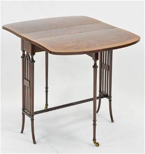 Small Antique Gate Leg Table w/Banded Inlay