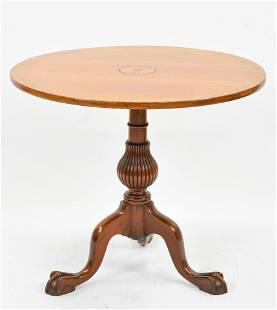 Antique 19thC Pedestal Paw Foot Round Folding Tea Table