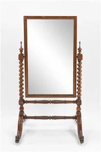 Antique 19thC Rococo Cheval Mirror w/Barley Twist Stand