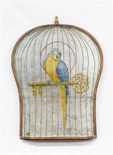 Vintage MCM Trompe L'oeil Parrot in 3D Cage