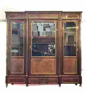 Antique 19c European Empire Breakfront Columned Cabinet