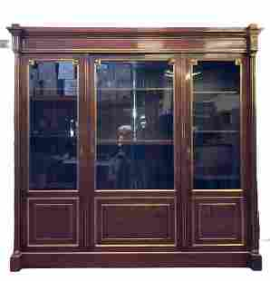 Large 19thC Antique Empire Block Front Display Cabinet