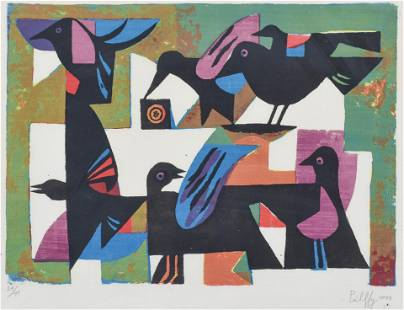 Signed and Dated MCM Modernist Print of Abstract Birds
