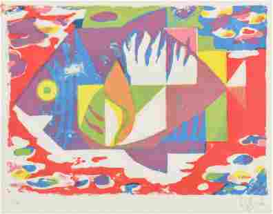 Signed/Dated 1972 MCM Modernist Print Abstract Fish
