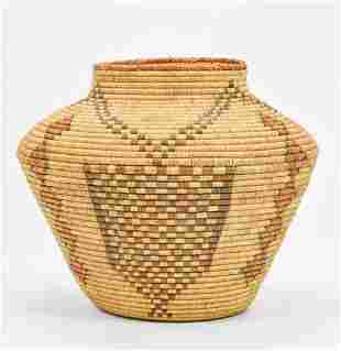 Native American Indian Coiled Olla Basket