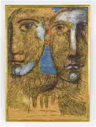 Peter Sheil Framed Mixed Media Art 1952 Signed