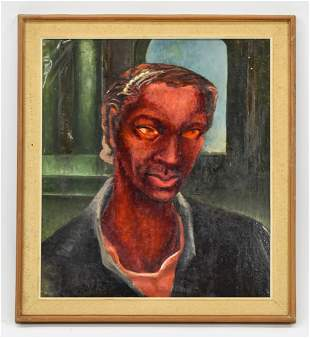 Oil Portrait African American Man MCM Mid Century Style