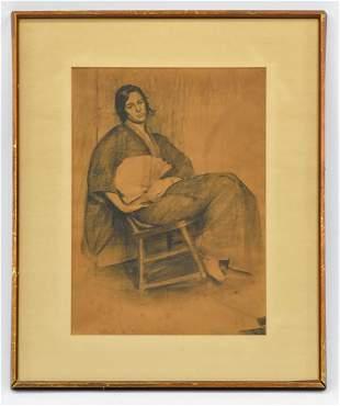 Framed Portrait of Woman in pencil