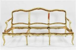 18th/19thC Antique 3-Pc Italian Settee & Chair Frames