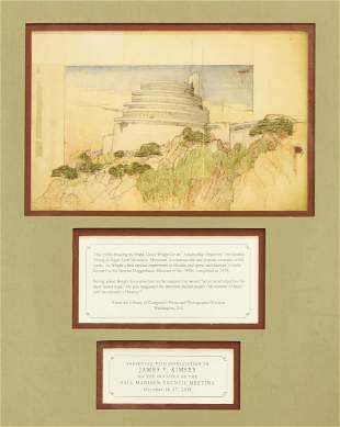 Framed Frank Lloyd Wright 1920's Taliesin Drawings