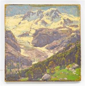 Edgar Payne Shadow Lake Landscape Oil on Board