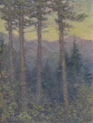 Geo Parker Pennsylvania Easel Painting in Gilt Frame