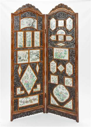 Antique Chinese Double Screen Rose Medallion Panels
