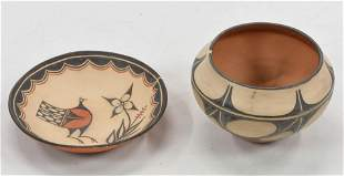 Set of 2 Pieces of Polychrome Clay Pottery