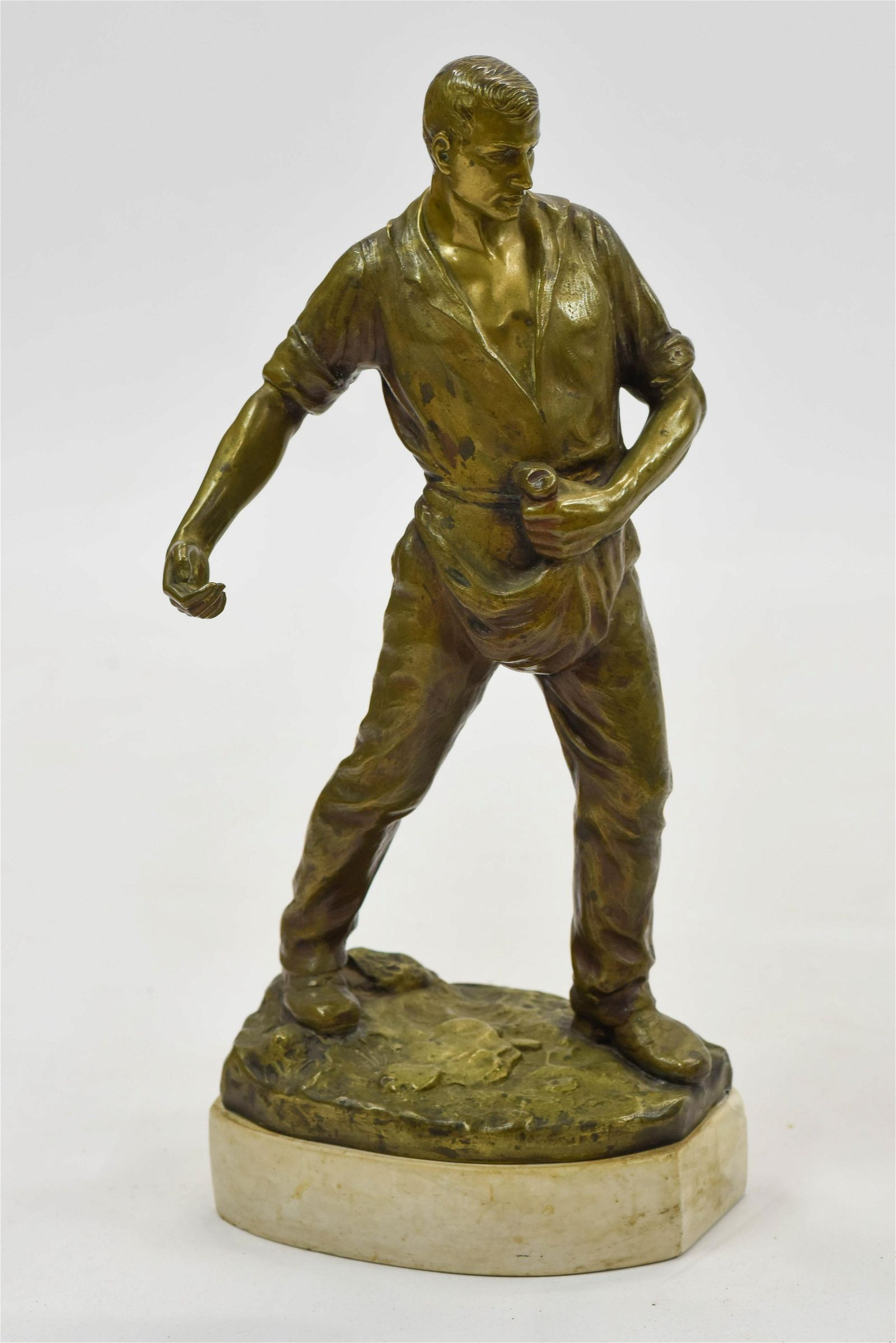 """19"""" Antique Bronze Statue Seed Sower Signed on Base"""