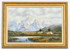 Western Landscape Oil Painting Native American Indian