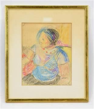 Framed Color Pencil Drawing