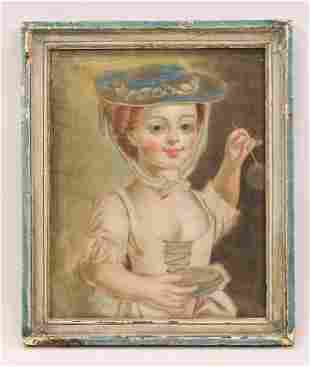 Charming Antique Folk Art Portrait Painting Young Girl