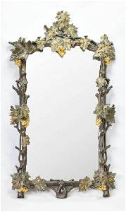 Large 19thC Antique Silver Gold Gilt Carved Wood Mirror