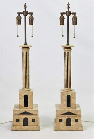 Fornasetti Style Architectural Lamps