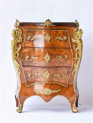 Louis XIV Style Bombe Marble Top Ormolu Commode