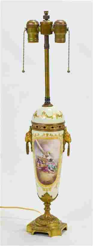 Fine 1920s French Sevres Style Table Lamp Gilt Bronze