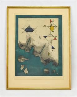 """Jan Forsberg """"Burnt Geometry"""" Color Etching 1966"""