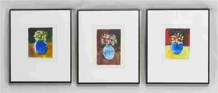 """Penelope Barringer """"Blue Vases with Flowers"""" 3 Framed"""